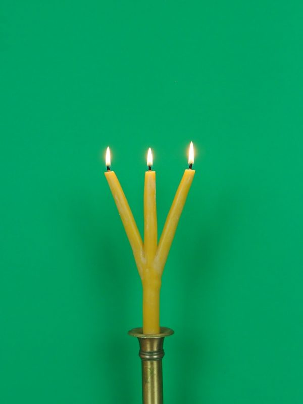Dreiarmige_mehrarmige Schwedische Weihnachtskerze Kerze Bienenwachs brennend